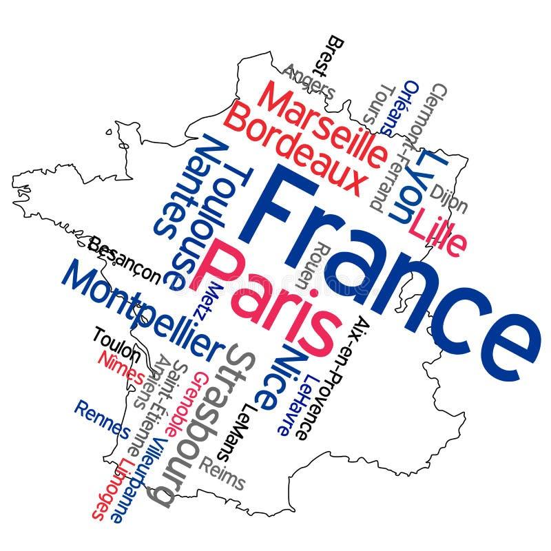 De kaart en de steden van Frankrijk royalty-vrije illustratie