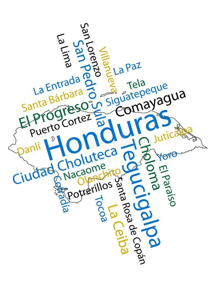 De Kaart en de Steden van Honduras vector illustratie