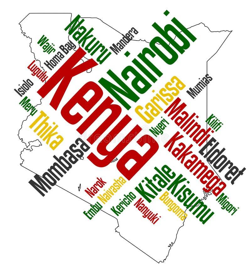 De kaart en de steden van Kenia royalty-vrije illustratie