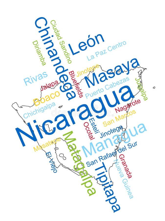 De Kaart en de Steden van Nicaragua royalty-vrije illustratie