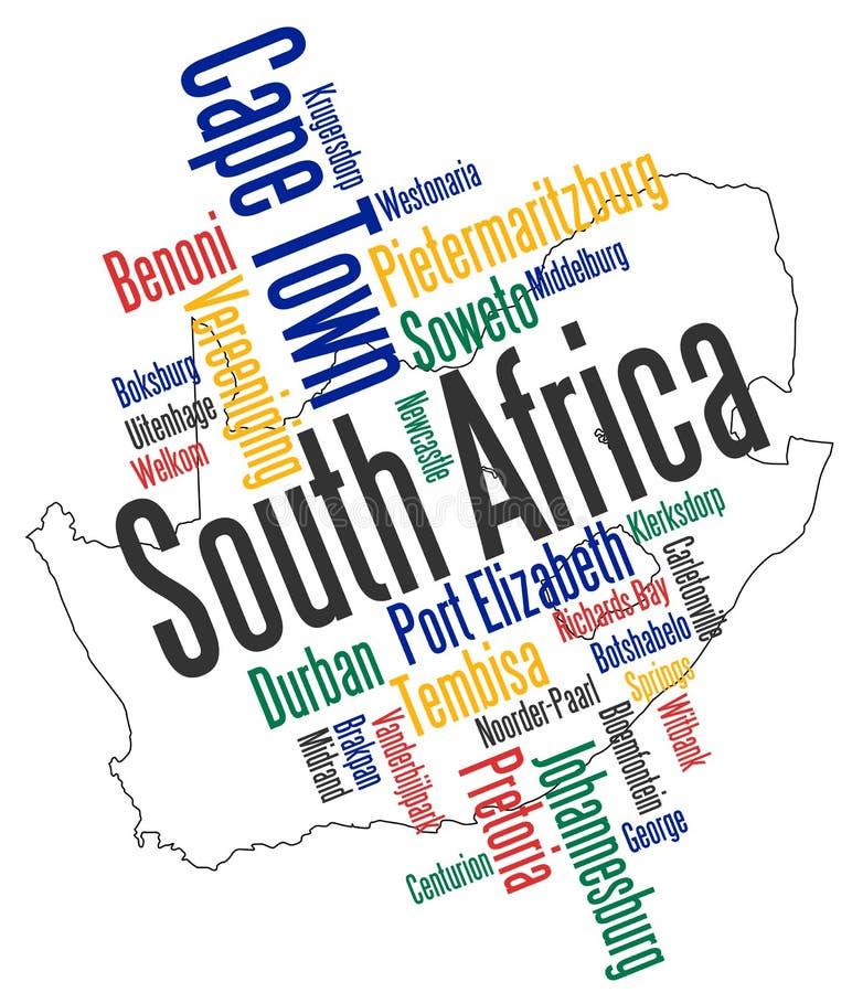 De kaart en de steden van Zuid-Afrika stock illustratie
