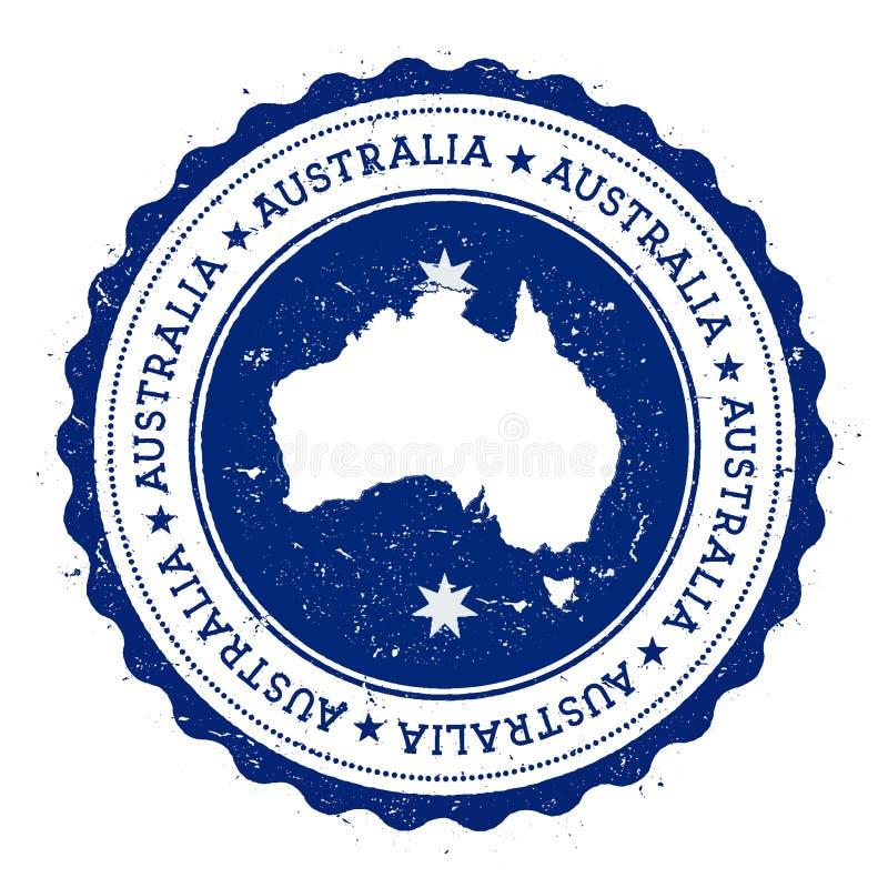 De kaart en de vlag van Australië in uitstekende rubberzegel van royalty-vrije illustratie