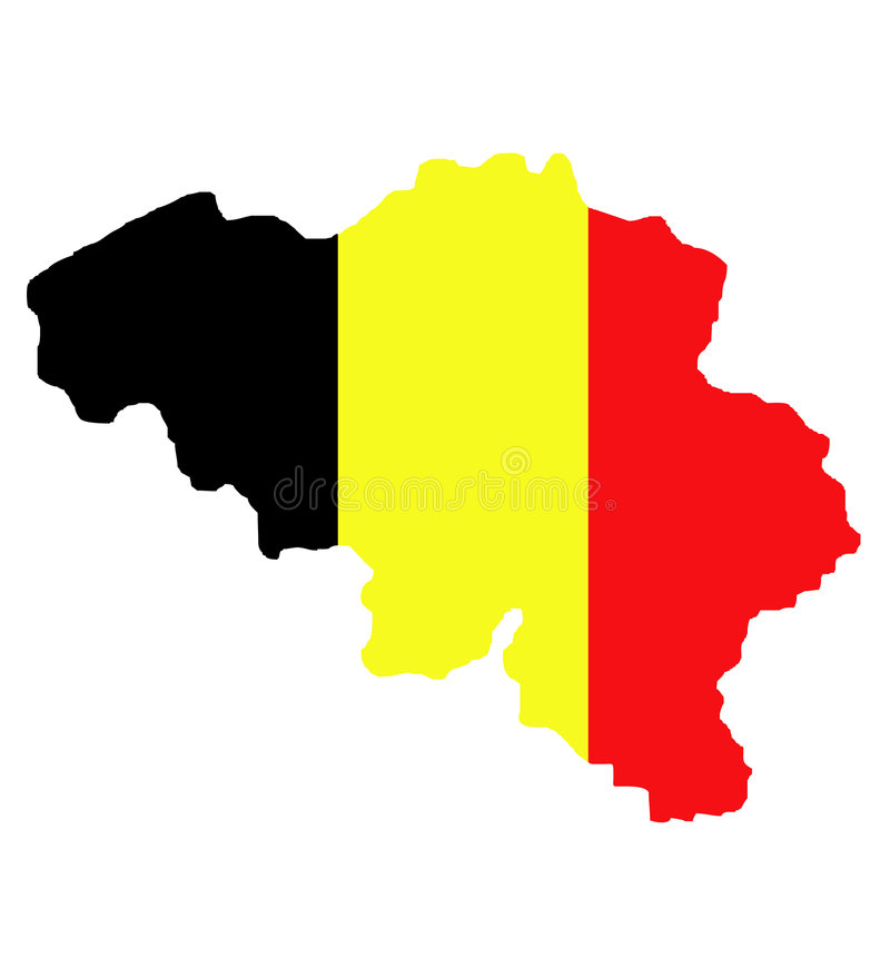 De kaart en de vlag van België