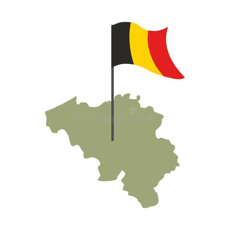 De kaart en de vlag van België Belgisch banner en landgrondgebied Staat p stock illustratie
