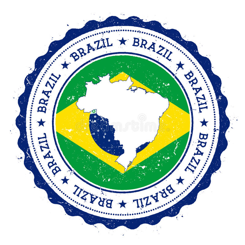 De kaart en de vlag van Brazilië in uitstekende rubberzegel van vector illustratie