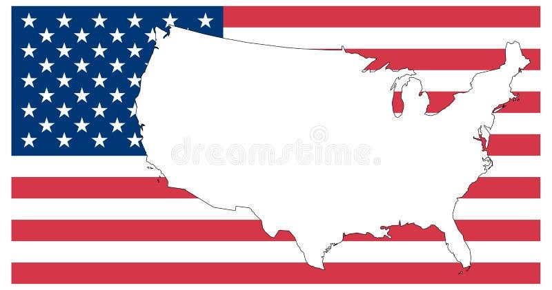 De kaart en de vlag van de V.S. royalty-vrije illustratie