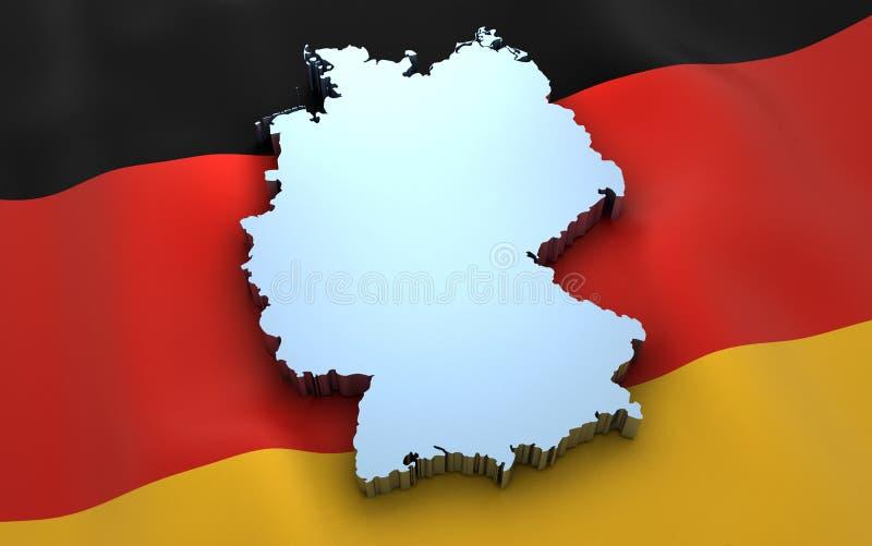 De kaart en de vlag van Duitsland stock illustratie