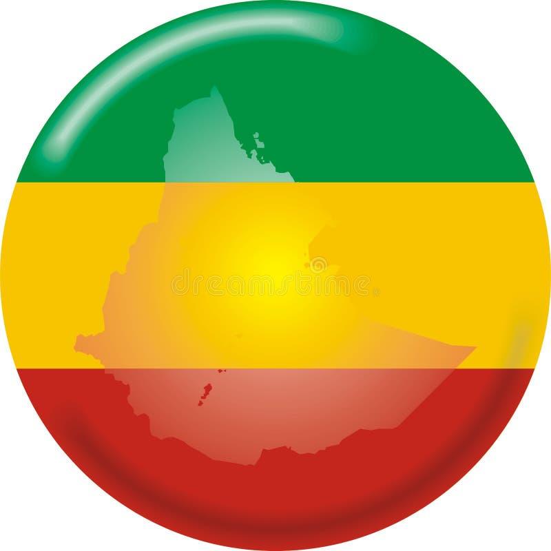 De kaart en de vlag van Ethiopië vector illustratie