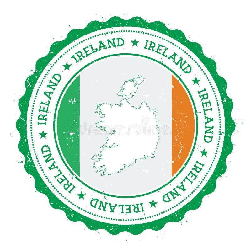 De kaart en de vlag van Ierland in uitstekende rubberzegel van vector illustratie
