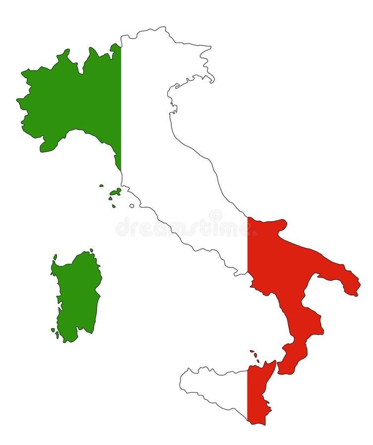 De kaart en de vlag van Italië royalty-vrije illustratie