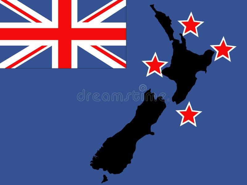 De kaart en de vlag van Nieuw Zeeland stock illustratie