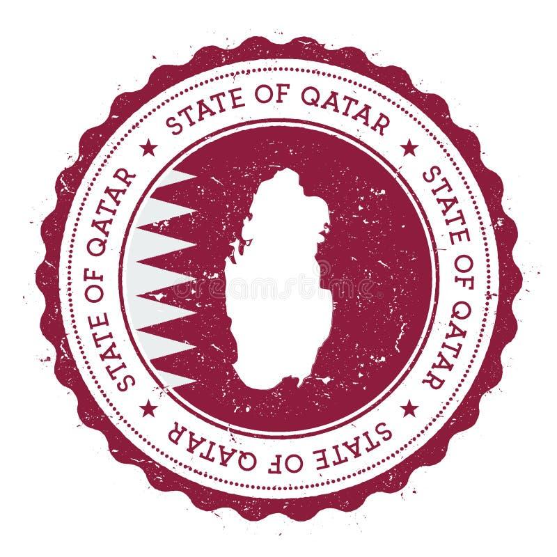 De kaart en de vlag van Qatar in uitstekende rubberzegel van stock illustratie