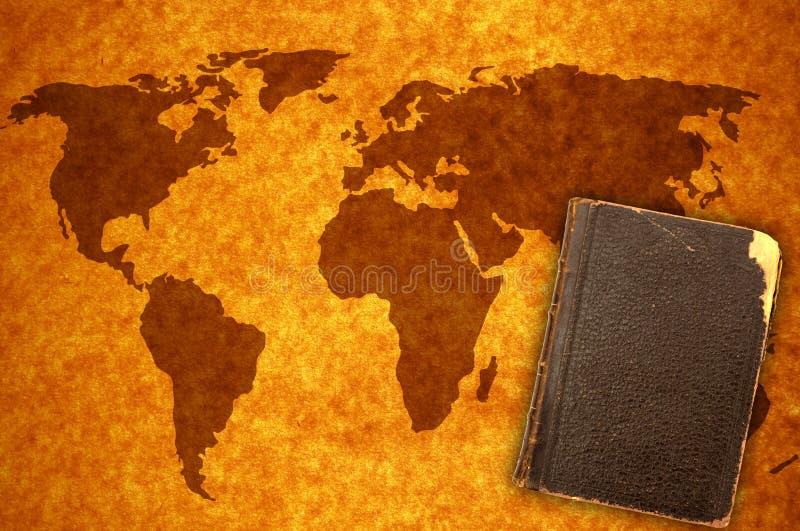 De kaart en het boek van de wereld royalty-vrije stock foto