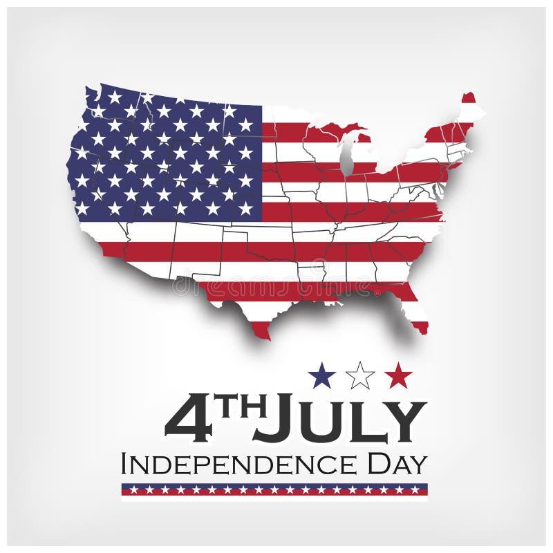 De kaart en de vlag van Amerika onafhankelijkheidsdag van de V.S. vierde Juli Vector stock illustratie