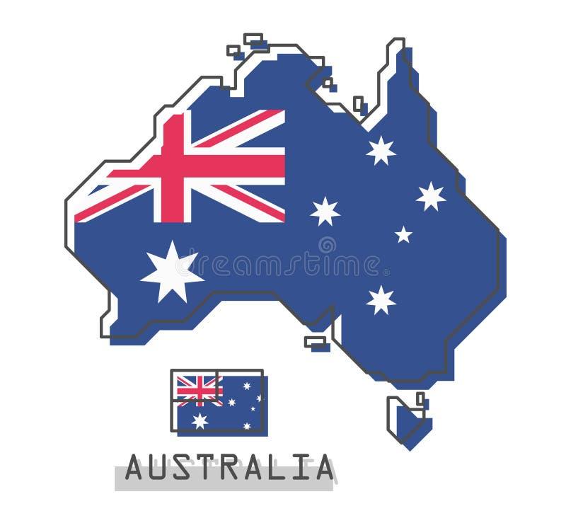 De kaart en de vlag van Australië Het moderne eenvoudige ontwerp van het lijnbeeldverhaal Vector vector illustratie