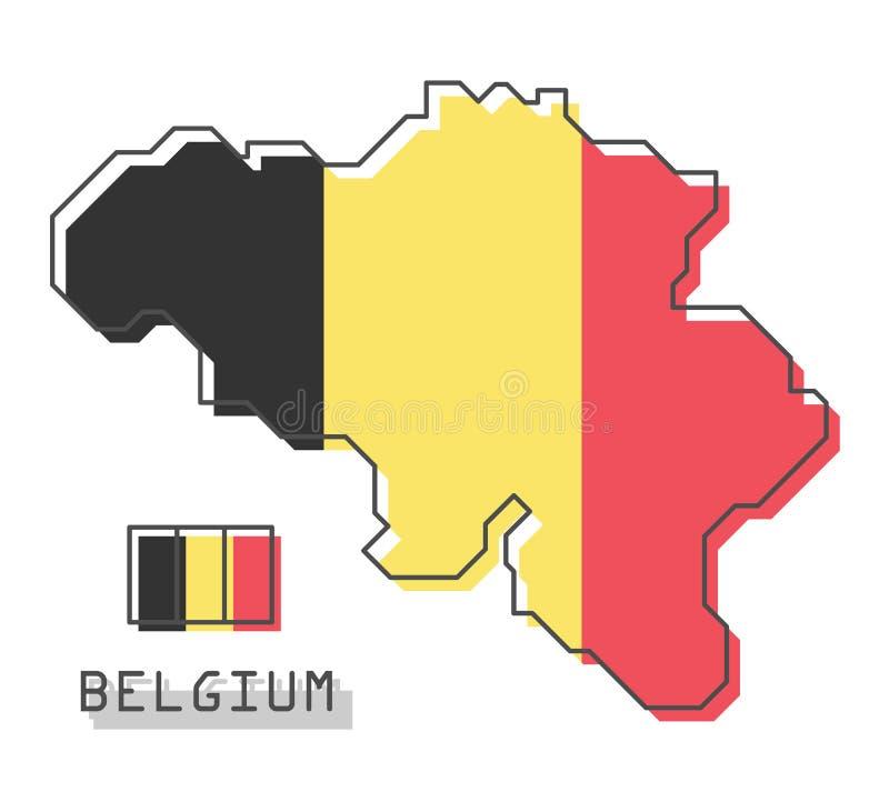 De kaart en de vlag van België Het moderne eenvoudige ontwerp van het lijnbeeldverhaal Vector vector illustratie