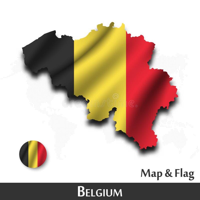 De kaart en de vlag van Belgi? Het golven textielontwerp De kaartachtergrond van de puntwereld Vector royalty-vrije illustratie