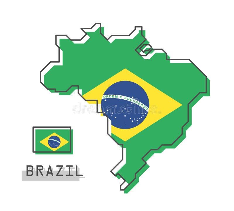 De Kaart en de Vlag van Brazilië Het moderne eenvoudige ontwerp van het lijnbeeldverhaal Vector vector illustratie