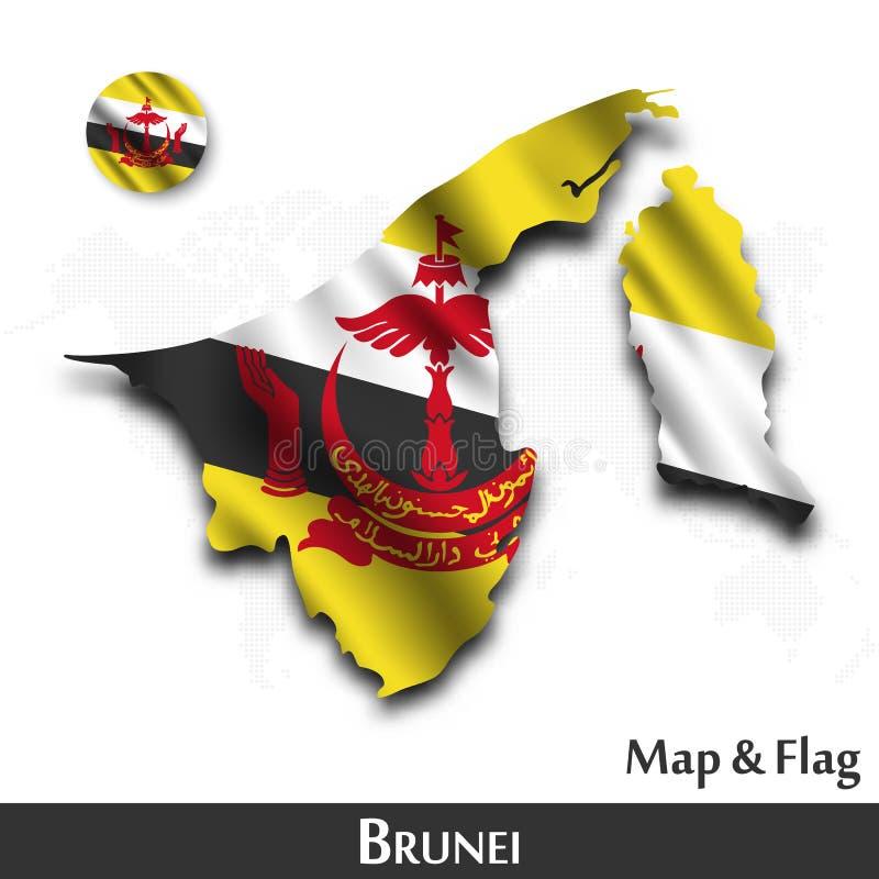 De kaart en de vlag van Brunei Het golven textielontwerp De kaartachtergrond van de puntwereld Vector stock illustratie