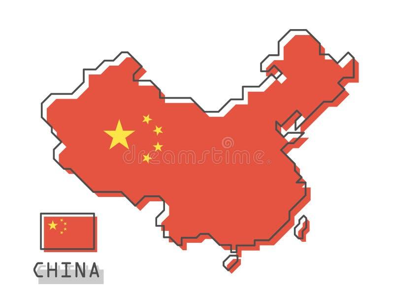 De kaart en de vlag van China Het moderne eenvoudige ontwerp van het lijnbeeldverhaal Vector vector illustratie