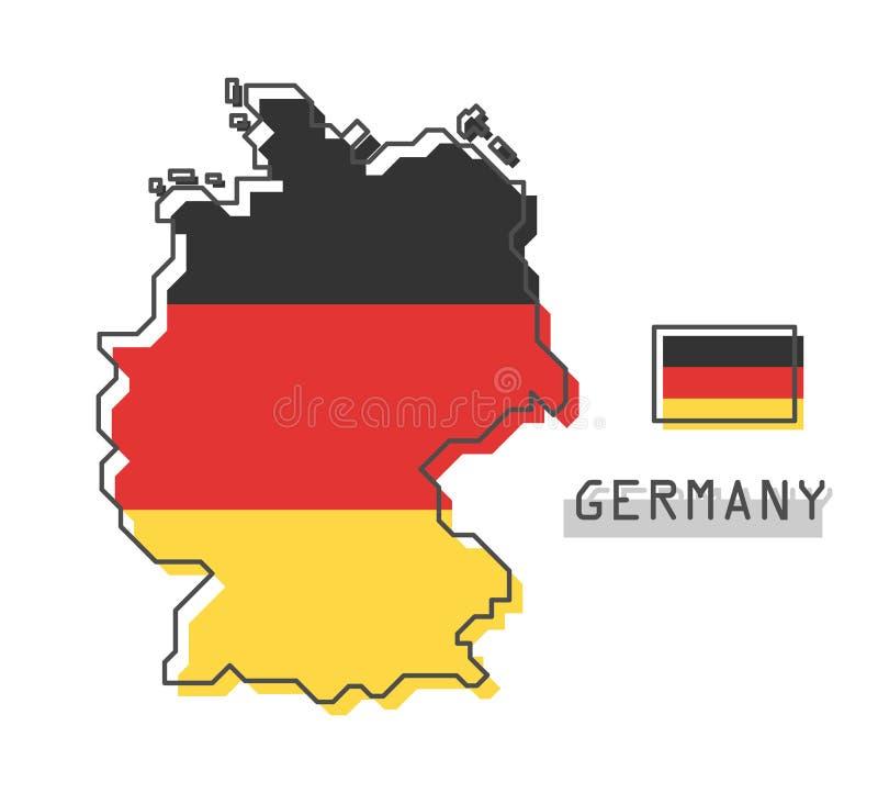 De kaart en de vlag van Duitsland Het moderne eenvoudige ontwerp van het lijnbeeldverhaal Vector vector illustratie