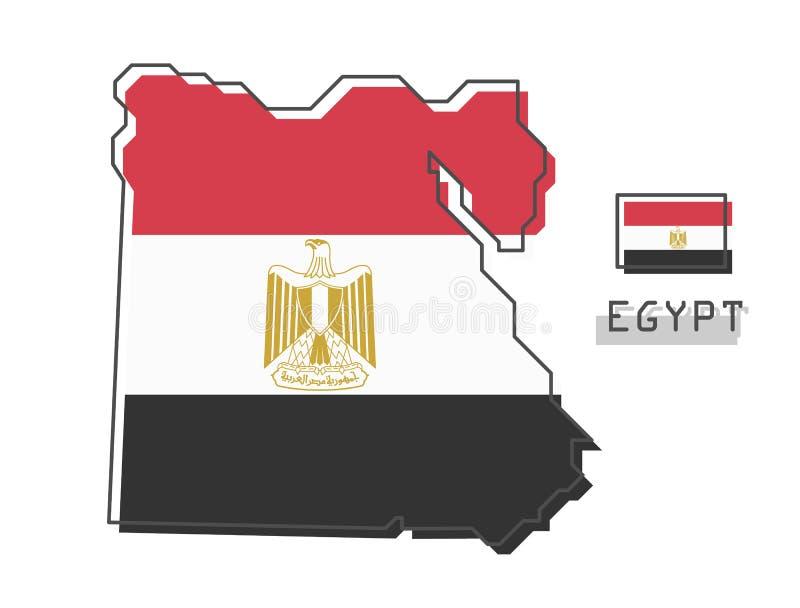 De kaart en de vlag van Egypte Het moderne eenvoudige ontwerp van het lijnbeeldverhaal Vector royalty-vrije illustratie