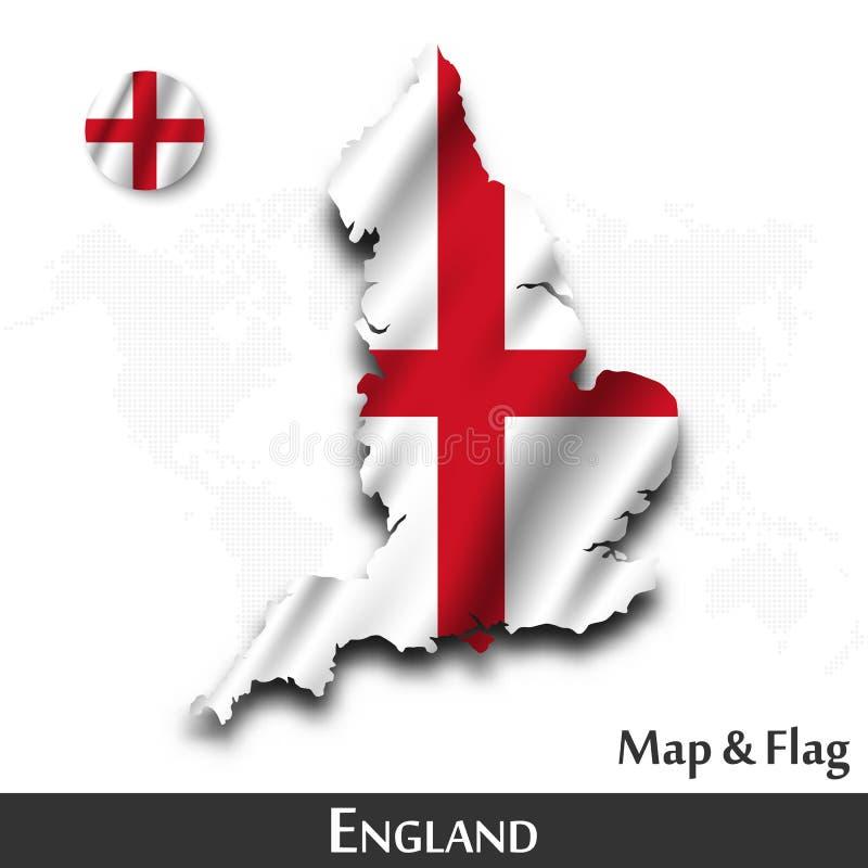 De kaart en de vlag van Engeland Het golven textielontwerp De kaartachtergrond van de puntwereld Vector stock illustratie