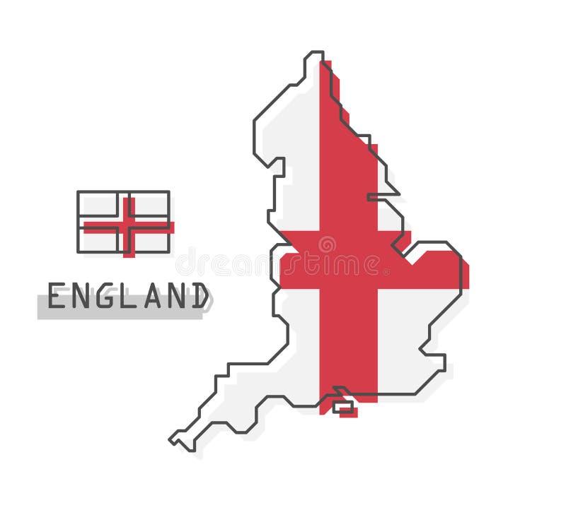 De kaart en de vlag van Engeland Het moderne eenvoudige ontwerp van het lijnbeeldverhaal Vector stock illustratie