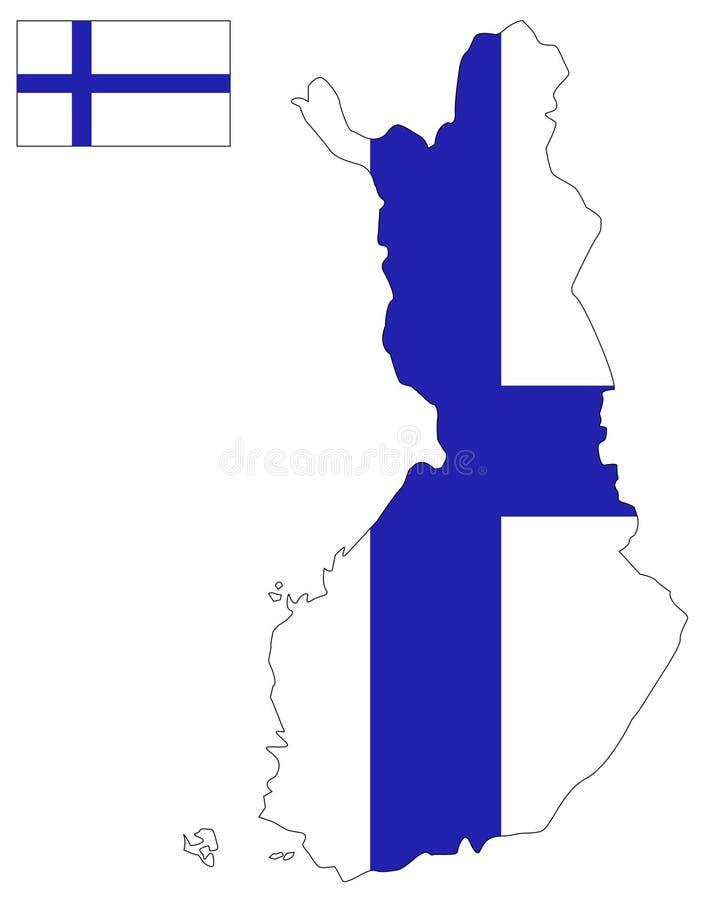 De kaart en de vlag van Finland - land in Noordelijk Europa stock illustratie