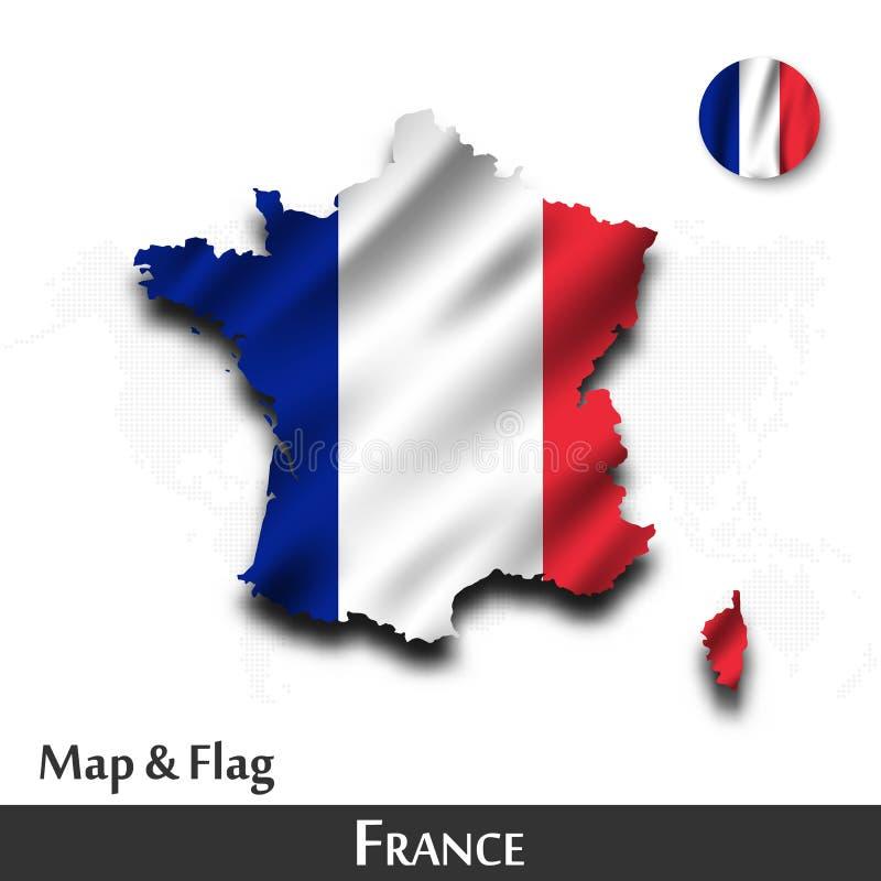 De kaart en de vlag van Frankrijk Het golven textielontwerp De kaartachtergrond van de puntwereld Vector vector illustratie