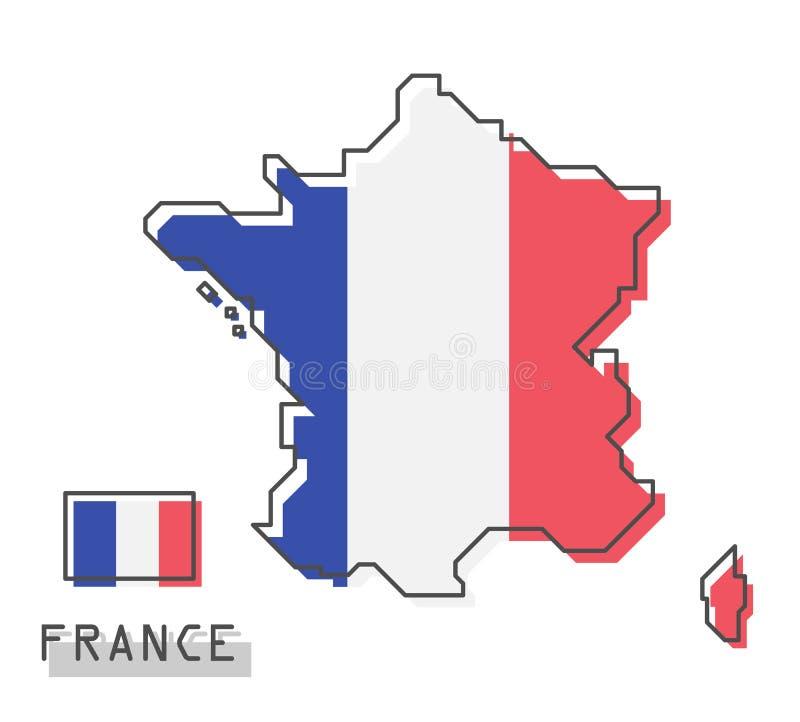 De kaart en de vlag van Frankrijk Het moderne eenvoudige ontwerp van het lijnbeeldverhaal Vector stock illustratie