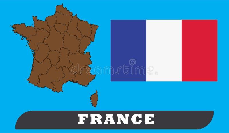 De kaart en de vlag van Frankrijk stock illustratie