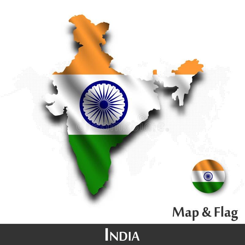 De kaart en de vlag van India Het golven textielontwerp De kaartachtergrond van de puntwereld Vector stock illustratie