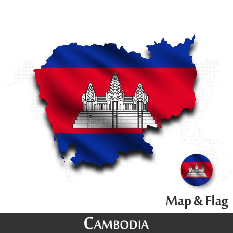 De kaart en de vlag van Kambodja Het golven textielontwerp De kaartachtergrond van de puntwereld Vector vector illustratie