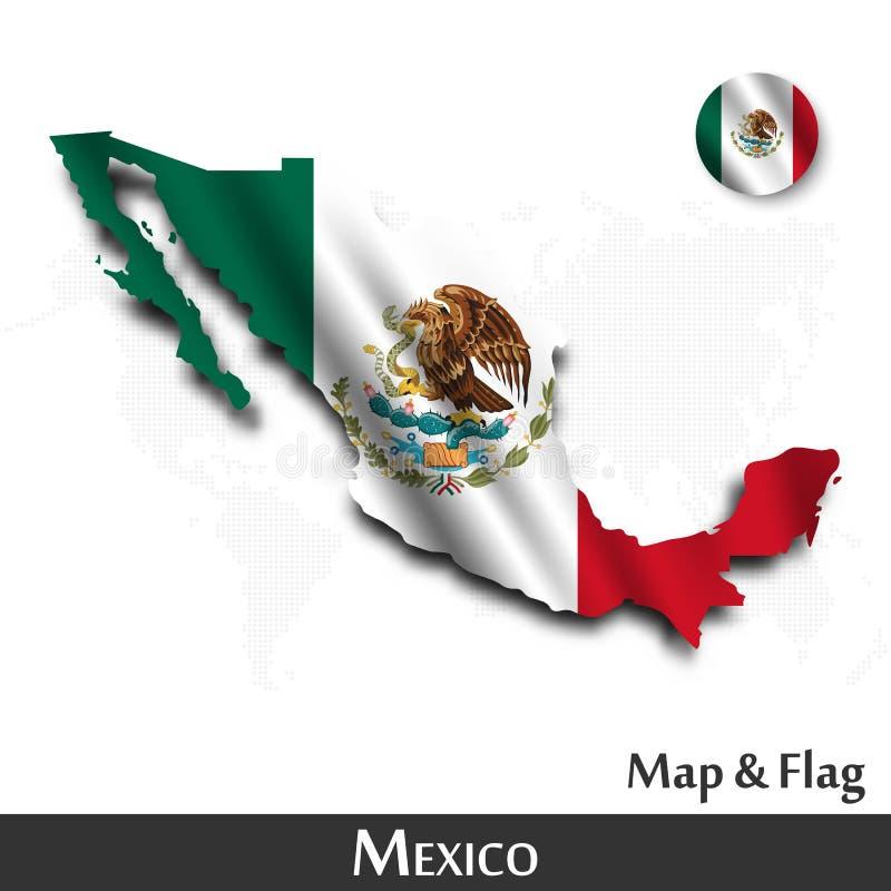 De kaart en de vlag van Mexico Het golven textielontwerp De kaartachtergrond van de puntwereld Vector royalty-vrije illustratie