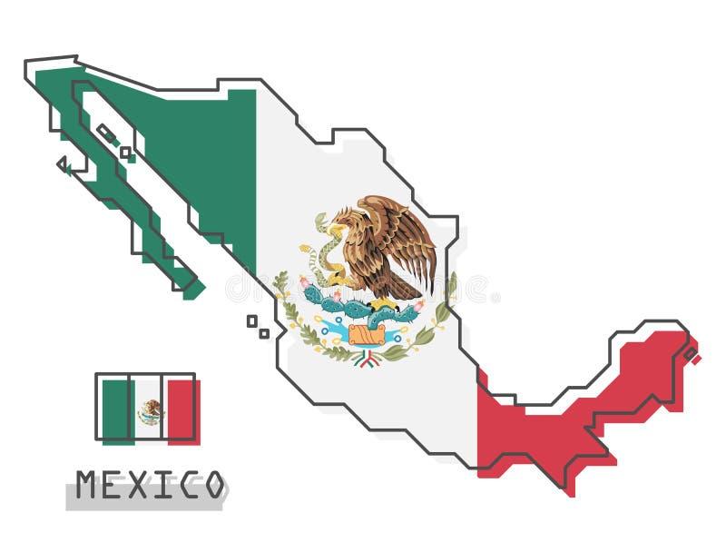 De kaart en de vlag van Mexico Het moderne eenvoudige ontwerp van het lijnbeeldverhaal Vector royalty-vrije illustratie