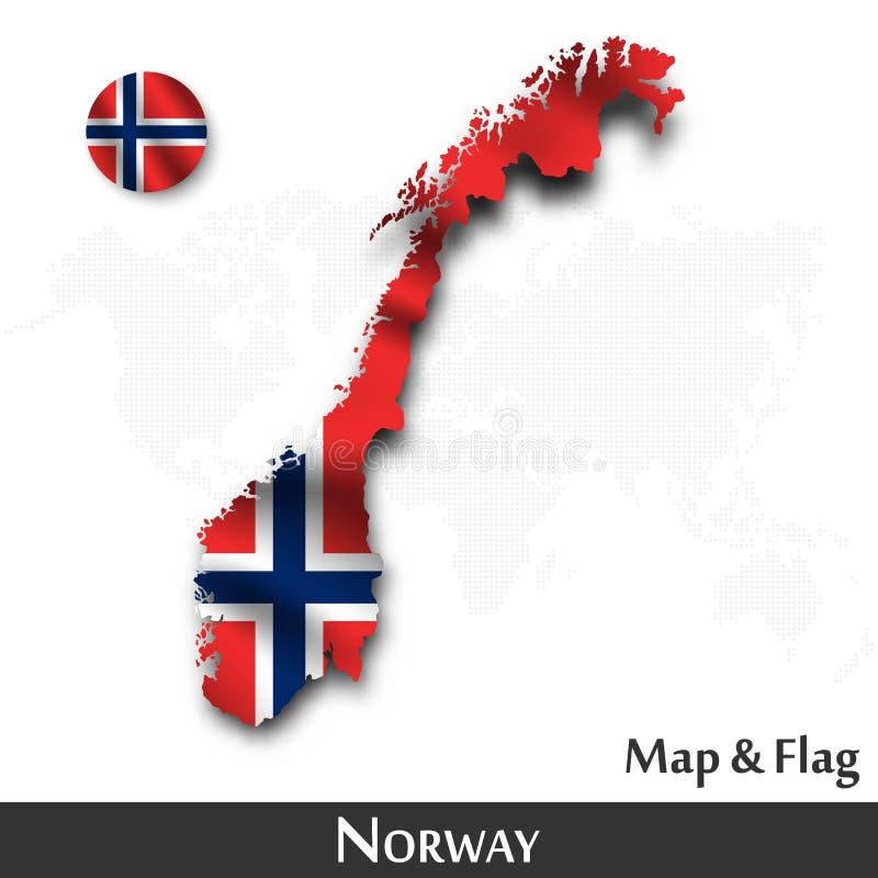 De kaart en de vlag van Noorwegen Het golven textielontwerp De kaartachtergrond van de puntwereld Vector stock illustratie