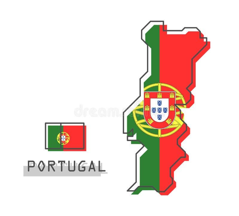 De kaart en de vlag van Portugal Het moderne eenvoudige ontwerp van het lijnbeeldverhaal Vector stock illustratie