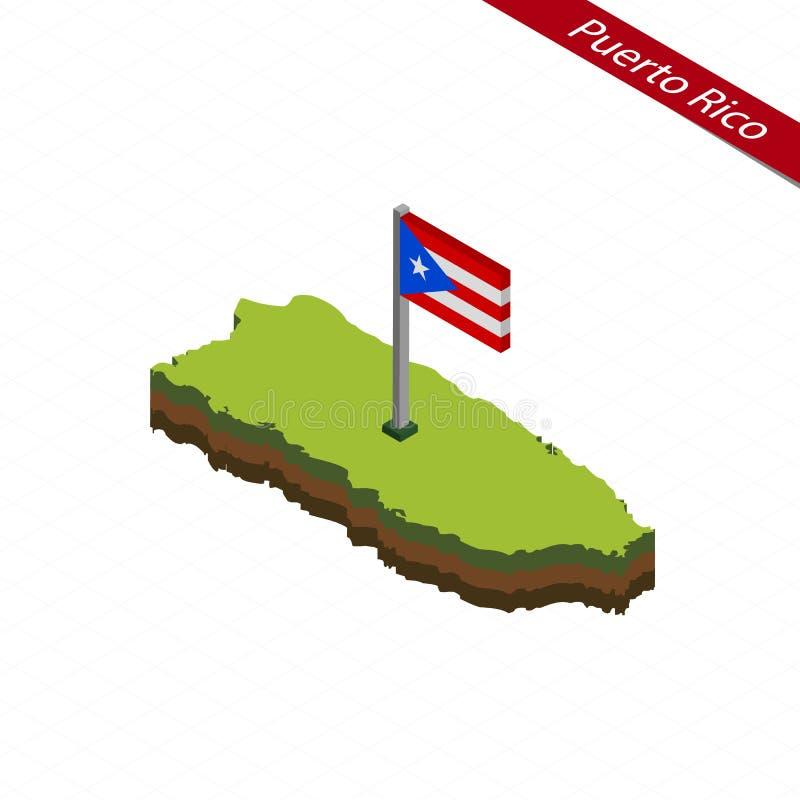 De kaart en de vlag van Puertorico isometric Vector illustratie vector illustratie