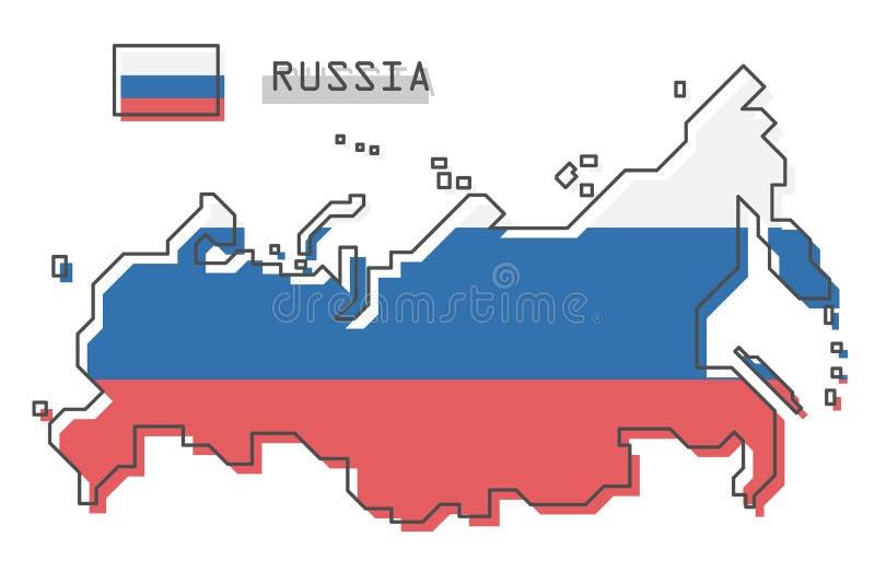 De kaart en de vlag van Rusland Het moderne eenvoudige ontwerp van het lijnbeeldverhaal Vector vector illustratie