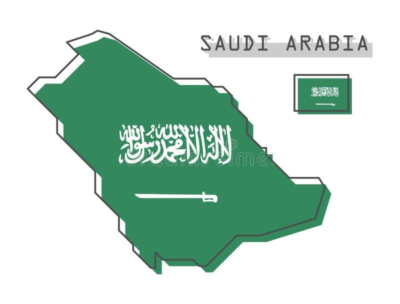 De kaart en de vlag van Saudi-Arabië Het moderne eenvoudige ontwerp van het lijnbeeldverhaal Vector royalty-vrije illustratie