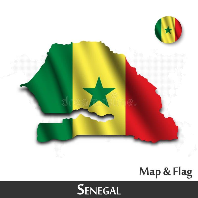 De kaart en de vlag van Senegal E De kaartachtergrond van de puntwereld Vector vector illustratie