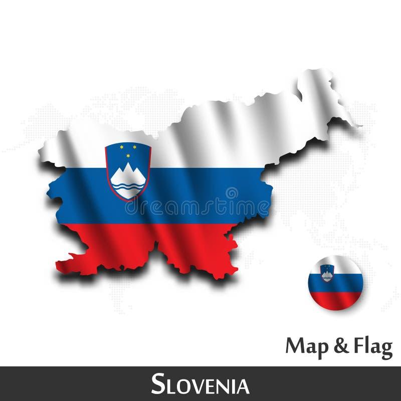 De kaart en de vlag van Slovenië Het golven textielontwerp De kaartachtergrond van de puntwereld Vector vector illustratie
