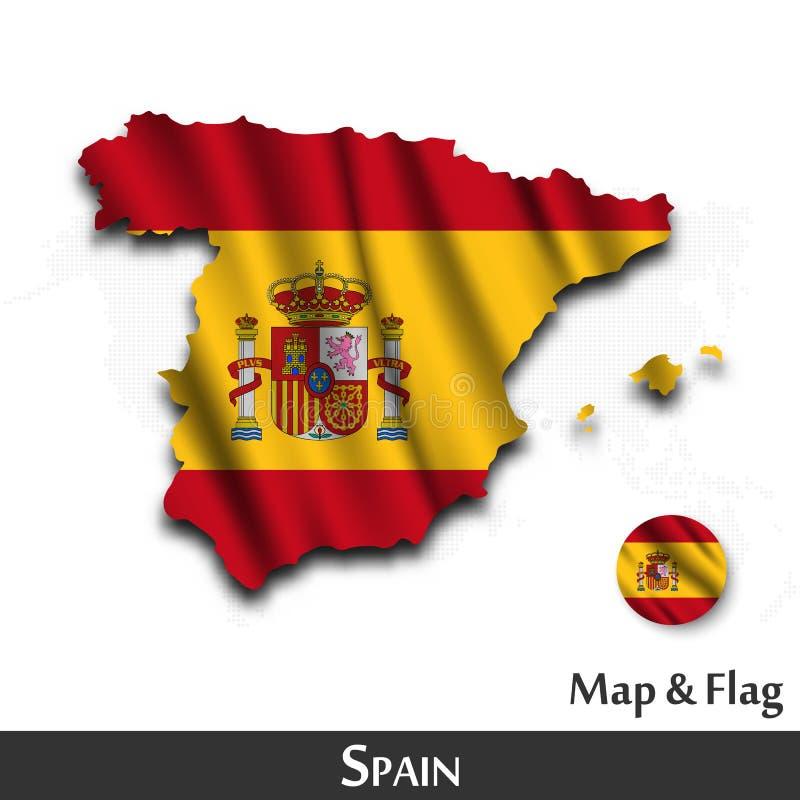 De kaart en de vlag van Spanje Het golven textielontwerp De kaartachtergrond van de puntwereld Vector vector illustratie
