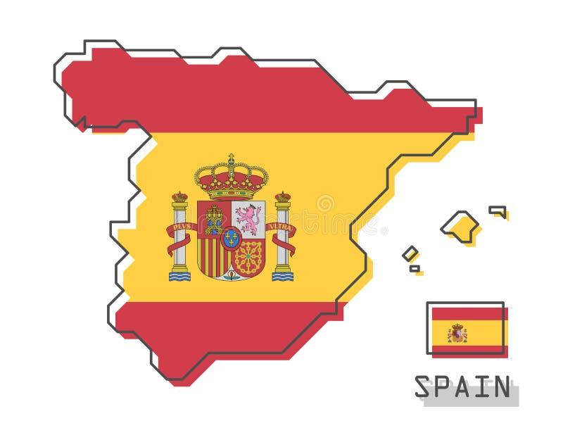 De kaart en de vlag van Spanje Het moderne eenvoudige ontwerp van het lijnbeeldverhaal Vector royalty-vrije illustratie
