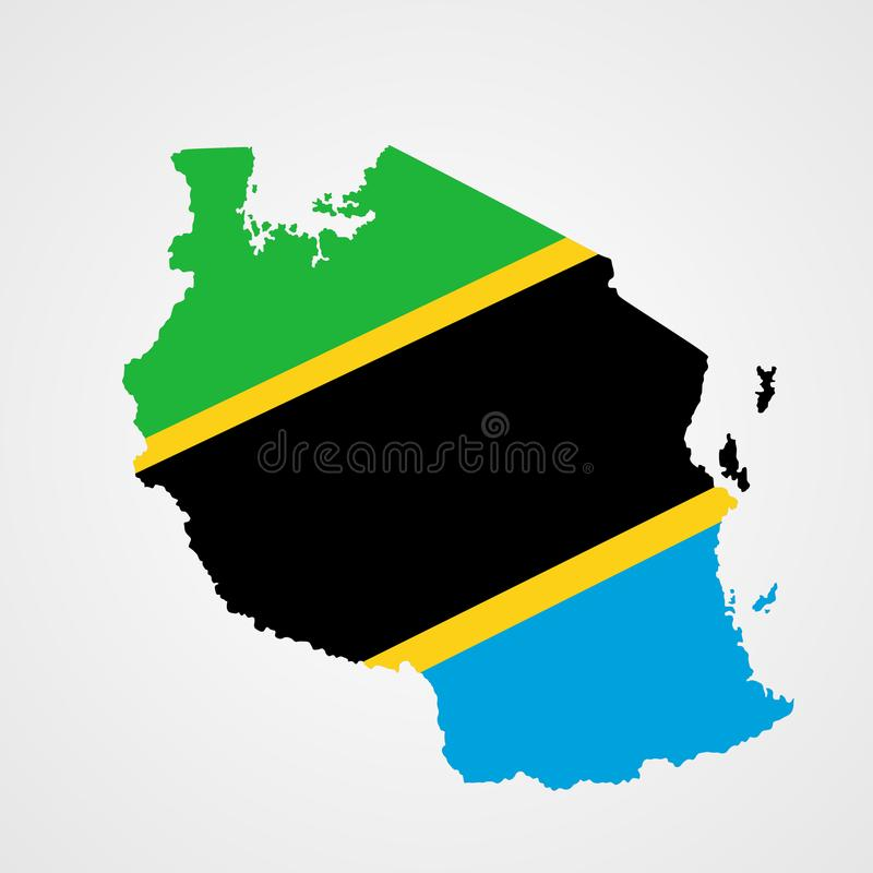 De kaart en de vlag van Tanzania royalty-vrije illustratie