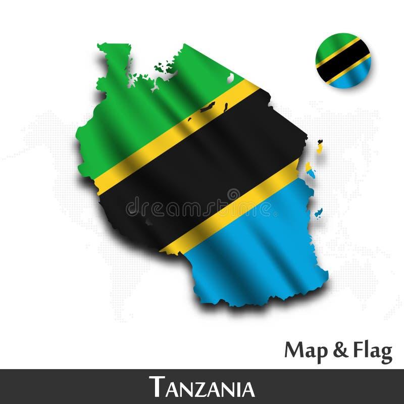 De kaart en de vlag van Tanzania Het golven textielontwerp De kaartachtergrond van de puntwereld Vector royalty-vrije illustratie