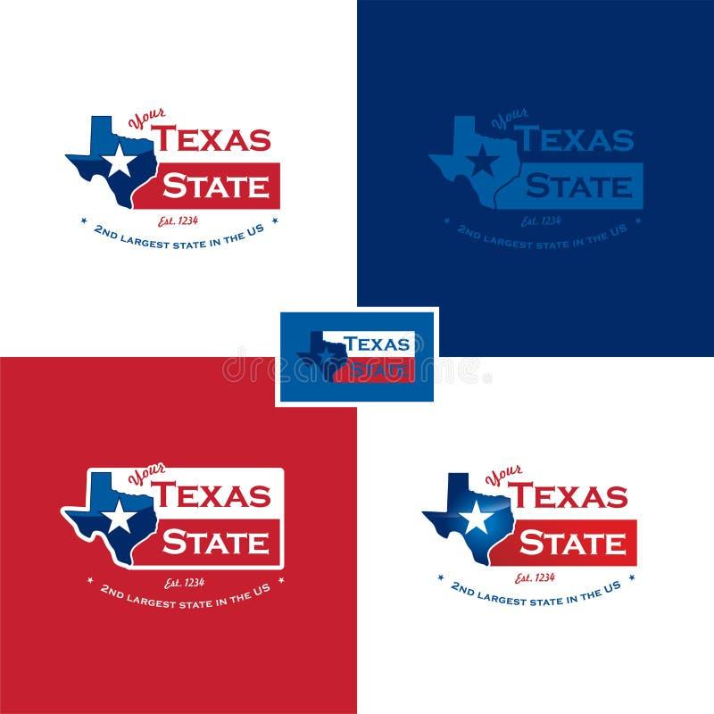 De kaart en de vlag van Texas stock illustratie