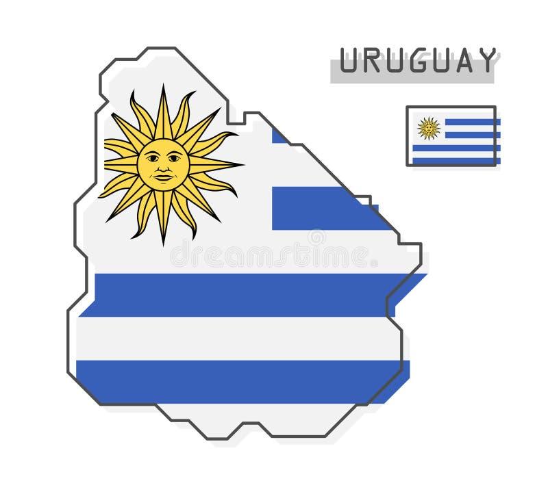 De kaart en de vlag van Uruguay Het moderne eenvoudige ontwerp van het lijnbeeldverhaal Vector stock illustratie