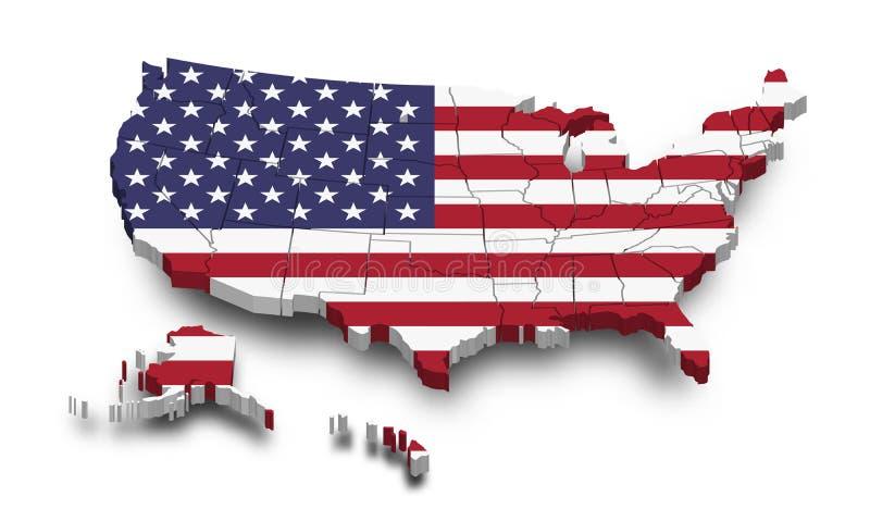 De kaart en de vlag van de Verenigde Staten van Amerika 3D vormontwerp Onafhankelijkheidsdag van het concept van de V.S. De menin stock illustratie
